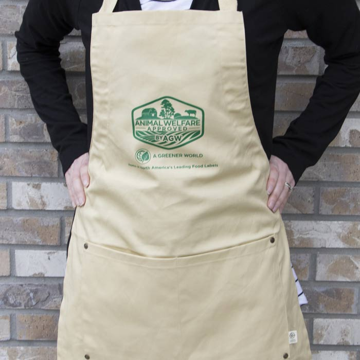 Apron With Certified Animal Welfare Approved By AGW Logo (Stone)