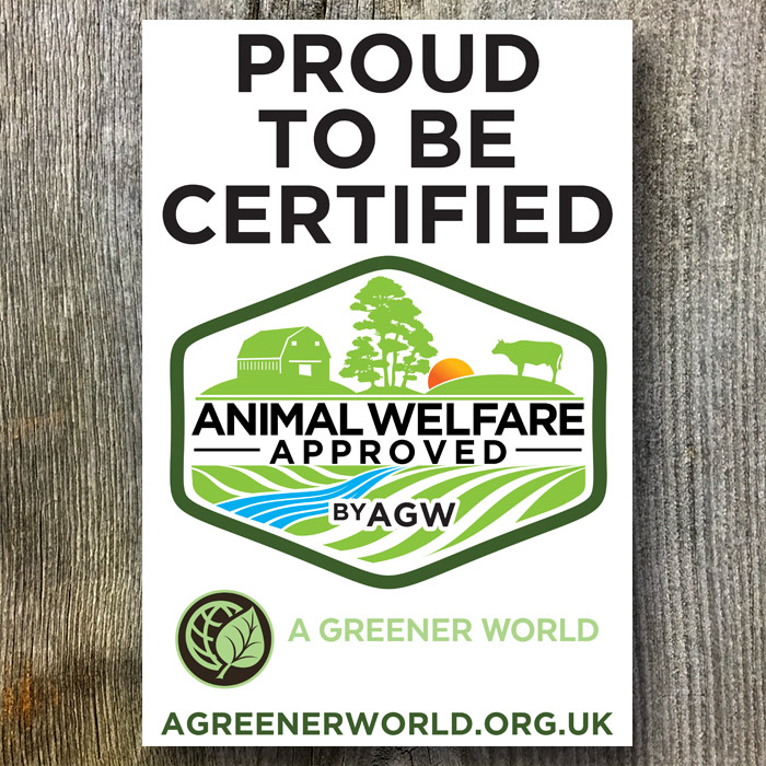 Metal Sign For The UK (Proud To Be Certified Animal Welfare Approved By AGW)